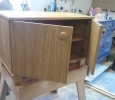 Oak Veneered Cabinet with doors.